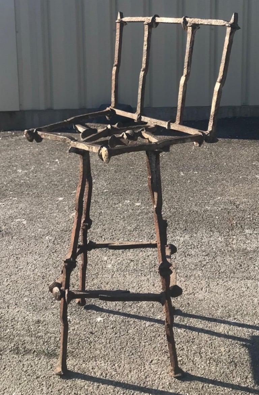 Mid-Century Modern Brutalist Railroad Spikes Chair Sculpture For Sale 3