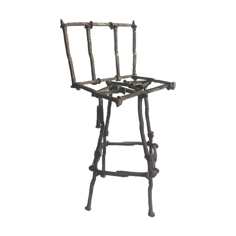 Mid-Century Modern Brutalist Railroad Spikes Chair Sculpture For Sale