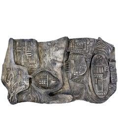 Mid-Century Modern Brutalist Relief Wall Sculpture Finesse Originals Fiberglass