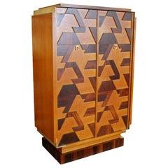 Mid-Century Modern Brutalist Rosewood Oak Steel Armoire Highboy Dresser, 1960s