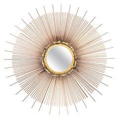 Mid-Century Modern Brutalist Sunburst Mirror, circa 1970