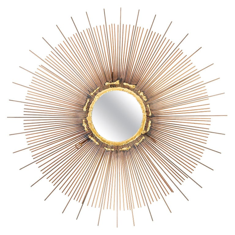 Mid-Century Modern Brutalist Sunburst Mirror, circa 1970 For Sale