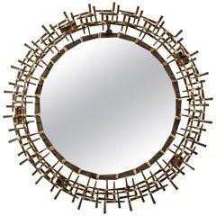 Mid-Century Modern Brutalist Sunburst Mirror