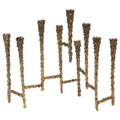 Mid-Century Modern Brutalist Textural Brass Menorah