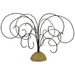 Mid-Century Modern Brutalist Threaded Metal Wire Tree Table Sculpture, 1960s