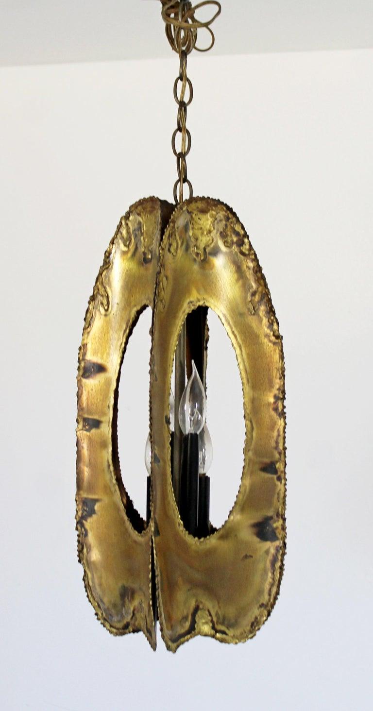 Mid-20th Century Mid-Century Modern Brutalist Torchcut Brass Pendant Light Fixture Tom Greene For Sale