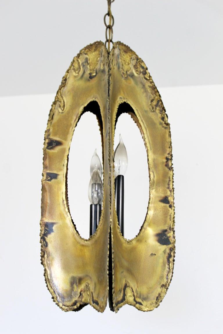 Mid-Century Modern Brutalist Torchcut Brass Pendant Light Fixture Tom Greene For Sale 1