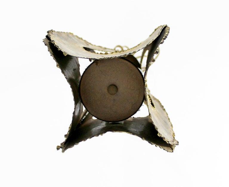Mid-Century Modern Brutalist Torchcut Brass Pendant Light Fixture Tom Greene For Sale 3