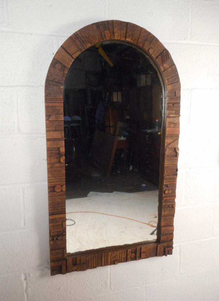 Mid-Century Modern Brutalist Wall Mirror In Good Condition For Sale In Brooklyn, NY