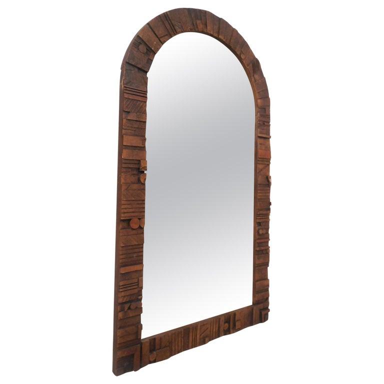 Mid-Century Modern Brutalist Wall Mirror For Sale