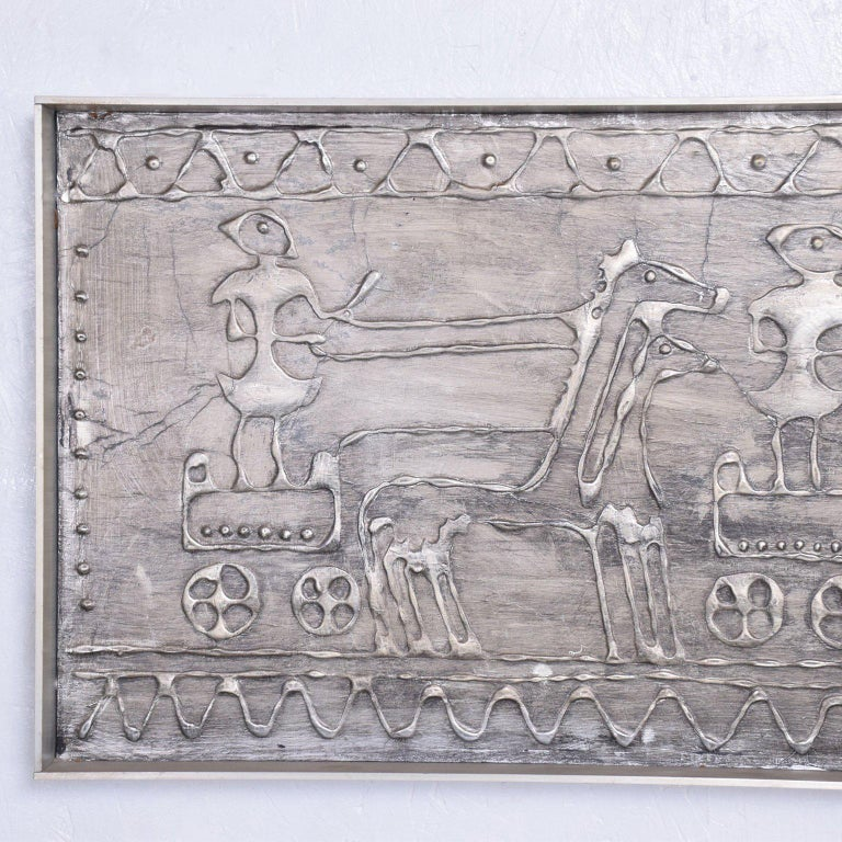 Mid-Century Modern Brutalist Wall Plaque Sculpture Art In Excellent Condition For Sale In National City, CA