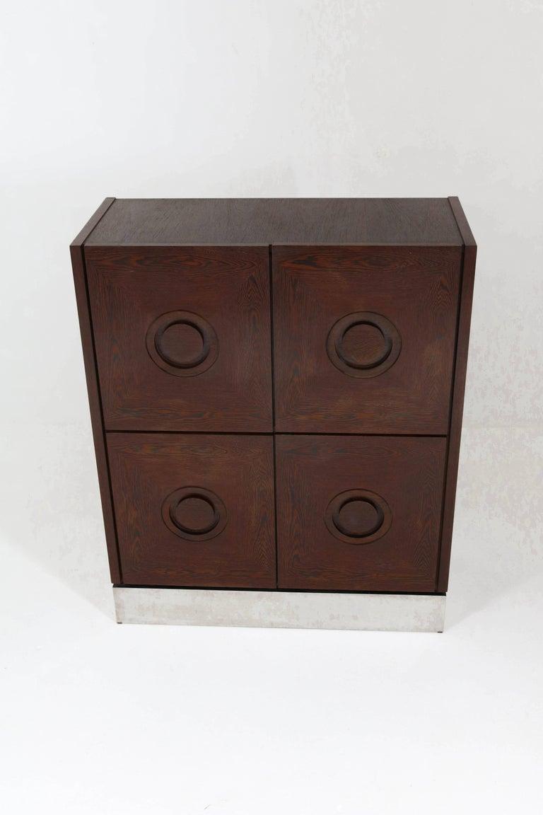 Belgian Mid-Century Modern Brutalist Wengé Bar Cabinet, 1970s For Sale