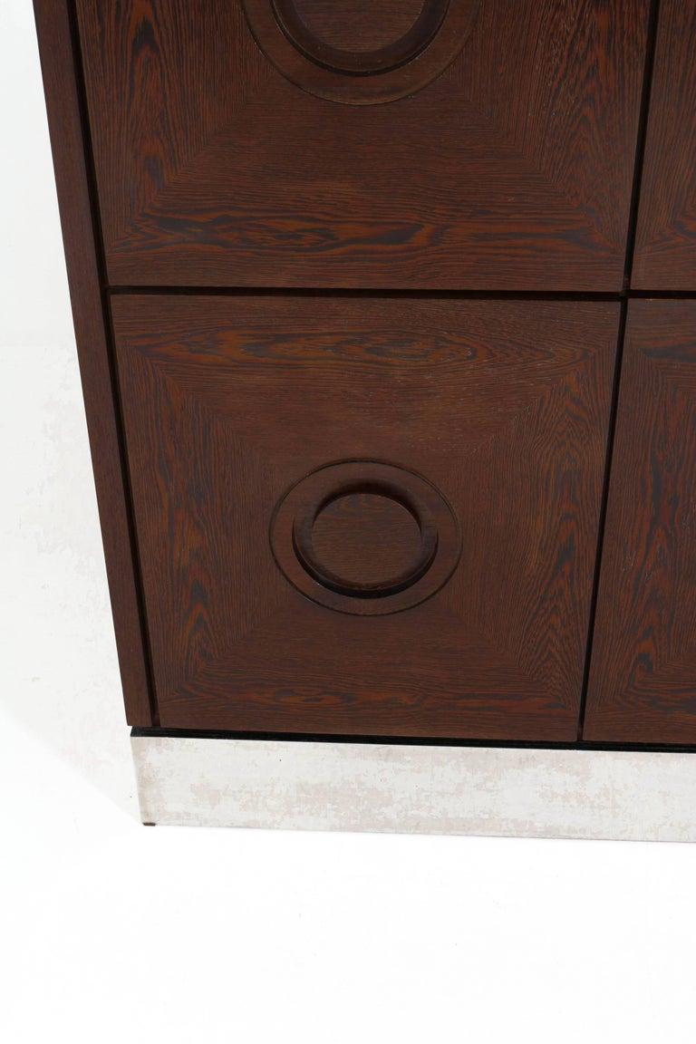Metal Mid-Century Modern Brutalist Wengé Bar Cabinet, 1970s For Sale