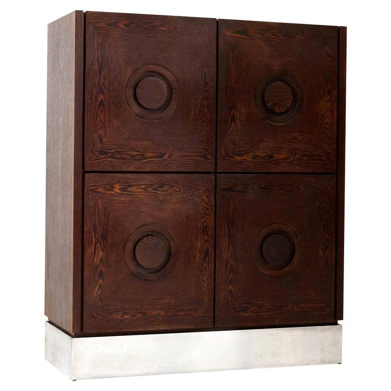 Mid-Century Modern Brutalist Wengé Bar Cabinet, 1970s For Sale