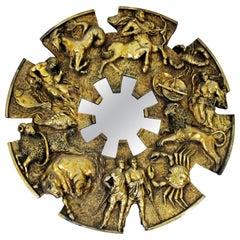 Mid-Century Modern Brutalist Zodiac Wall Mirror Sculpture Finesse Fiberglass