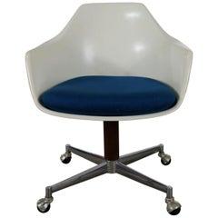 Mid-Century Modern Burke Inc Fiberglass Shell Desk Armchair Rolling Swivel Tilt