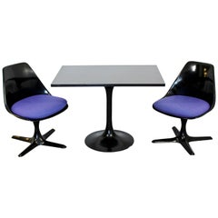 Mid-Century Modern Burke Pair of Black Propeller Side Chairs and Bistro Table