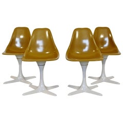 Mid-Century Modern Burke Set of 4 Tulip Propeller Side Dining Chairs, 1960s