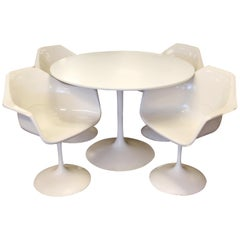 Mid-Century Modern Burke Tulip Dining Dinette Set Table 4 Shell Armchairs, 1960s