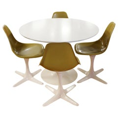Mid-Century Modern Burke Tulip Propeller Dining Dinette Set Table 4 Chairs 1960s