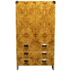Mid-Century Modern Burl and Chrome High Chest Wardrobe by Pace