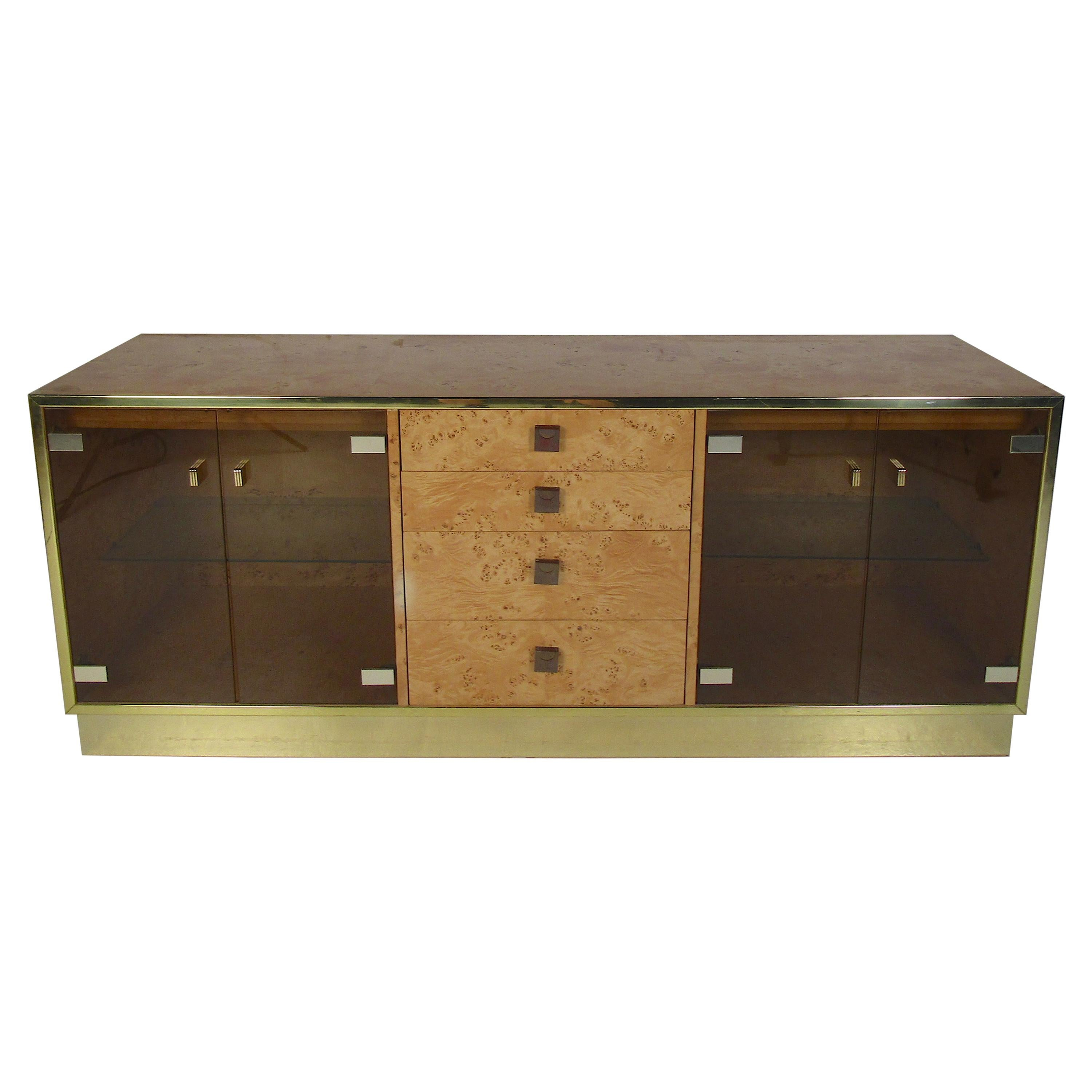 Mid-Century Modern Burl Credenza by Founders