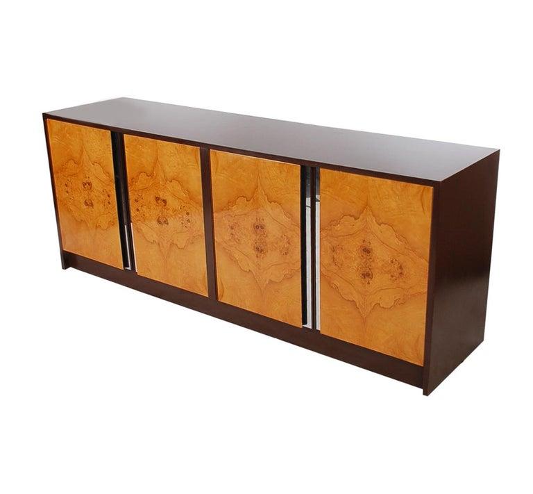 Laminate Mid-Century Modern Burl Credenza or Cabinet after Milo Baughman For Sale