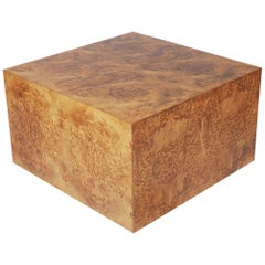 Mid-Century Modern Burl Cube Coffee Table or Large Side Table by Milo Baughman