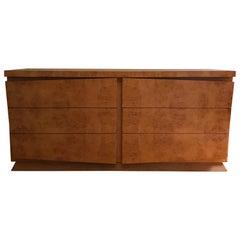 Mid-Century Modern Burl Olive Wood Double Dresser