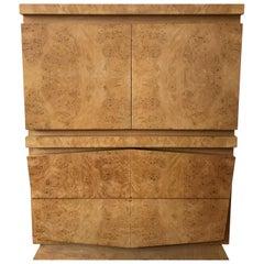 Mid-Century Modern Burl Olive Wood Highboy Dresser