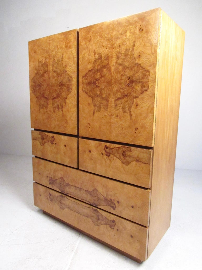 Mid Century Modern Burl Wood Armoire By Lane For Sale At 1stdibs