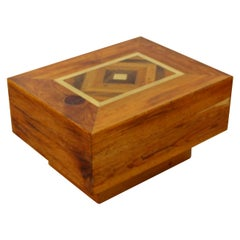 Mid-Century Modern Burl Wood Brass Side End Coffee Cube Table Baughman Style