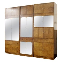 Mid-Century Modern Burl Wood Cabinets Wall Unit by Bernhardt