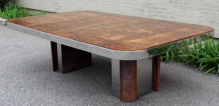 Mid-Century Modern Burl Wood Chrome Expandable Dining Table Baughman Evans  Era