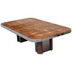 Mid-Century Modern Burl Wood Chrome Expandable Dining Table Baughman Evans Era