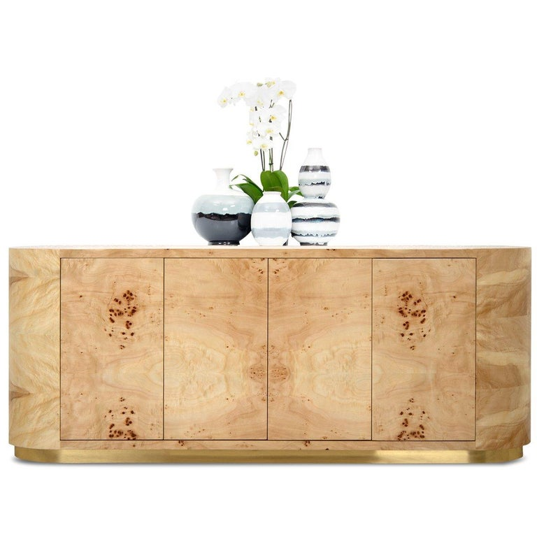 Chinese Mid-Century Modern Burl Wood Curved Credenza with Brass Toe Kick For Sale