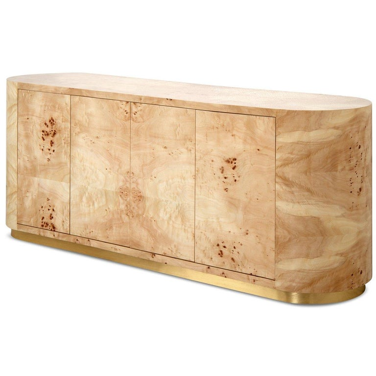 Lacquered Mid-Century Modern Burl Wood Curved Credenza with Brass Toe Kick For Sale