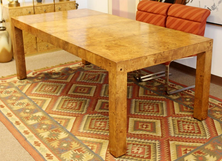 Mid Century Modern Burl Wood Dining Table With 2 Leaves By Milo