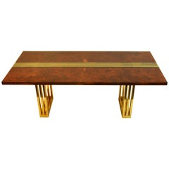 Mid-Century Modern Burl Wood, Glass and Brass Dining Table by Romeo Rega