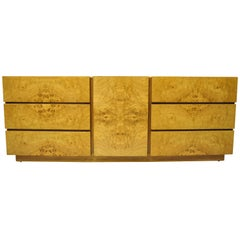 Mid-Century Modern Burl Wood Long Dresser Credenza Cabinet by Lane Furniture