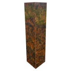 Mid-Century Modern Burl Wood Milo Baughman Style Column Pedestal Display Stand