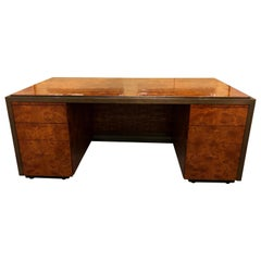 Mid-Century Modern Burl Wood Palatial Writing Desk