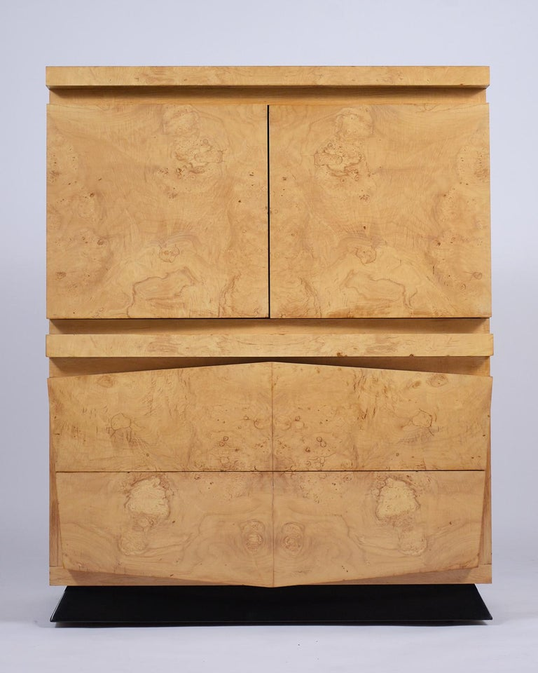 American Modern Burled Chest of Drawers For Sale