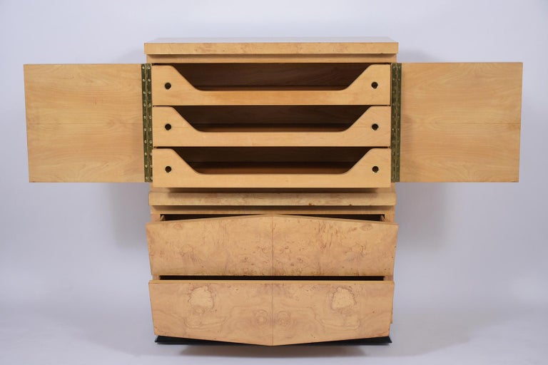 Stained Modern Burled Chest of Drawers For Sale