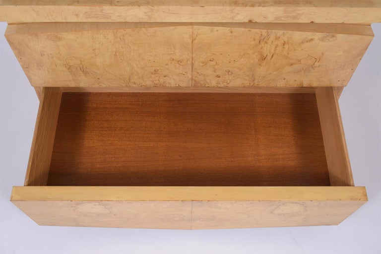 Brass Modern Burled Chest of Drawers For Sale