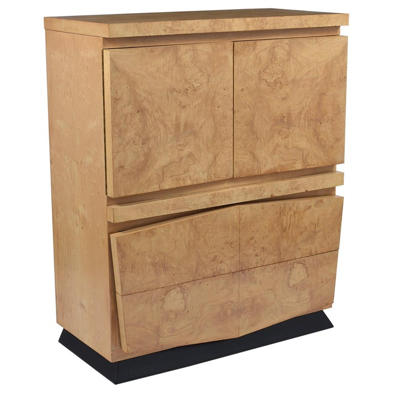 Modern Burled Chest of Drawers For Sale