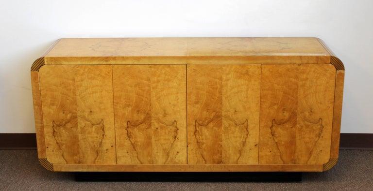 American Mid-Century Modern Burled Olivewood Ebony Credenza Henredon Scene 2, 1970s For Sale