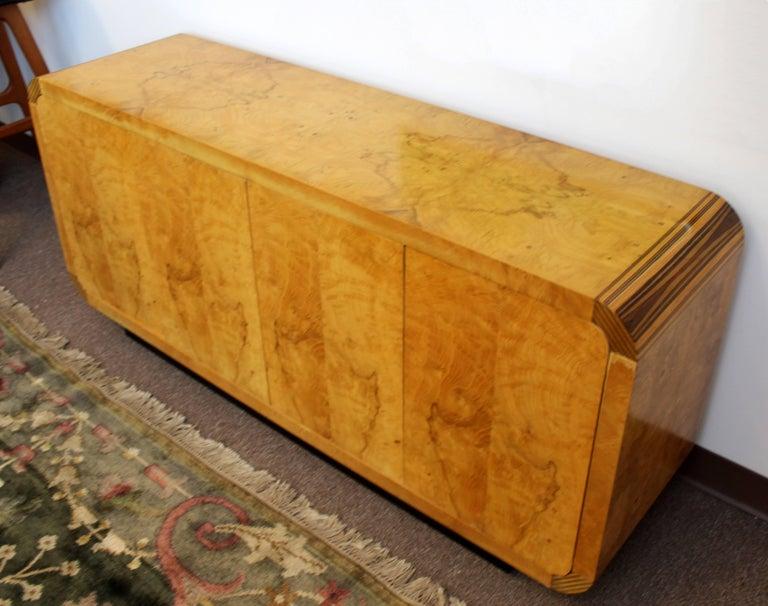 Late 20th Century Mid-Century Modern Burled Olivewood Ebony Credenza Henredon Scene 2, 1970s For Sale