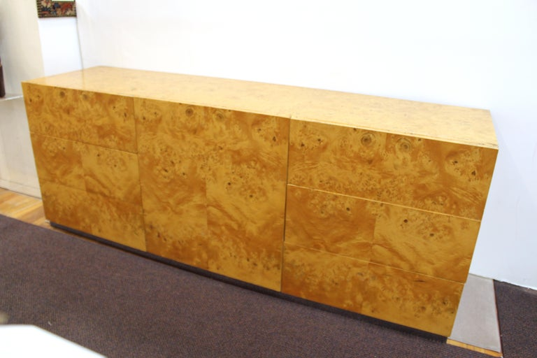 Mid-Century Modern Burlwood Credenza Attributed to Milo Baughman For Sale 9