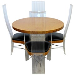 Mid-Century Modern Burlwood Lucite Dinette Set 4 Side Chairs and Table